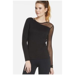 Fabletics black Storm long sleeve tee with mesh
